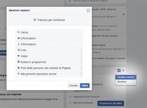 Gestisci sezioni facebook